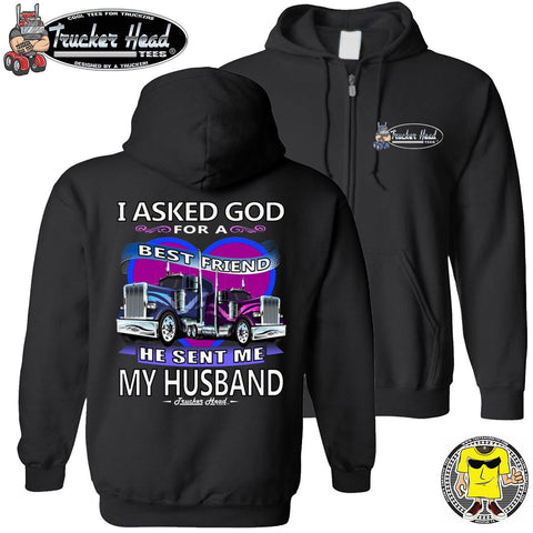 I Asked God For A Best Friend Trucker Wife Hoodies zip up black
