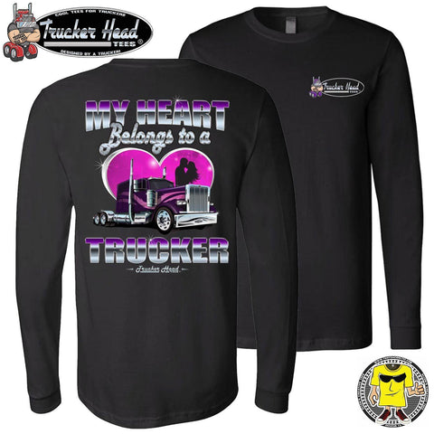 My Heart Belongs To A Trucker Wife Long Sleeve Shirt black