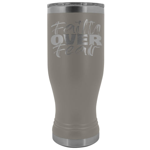Image of Faith Over Fear 20oz. BOHO Tumbler Christian Travel Coffee Mugs pewter