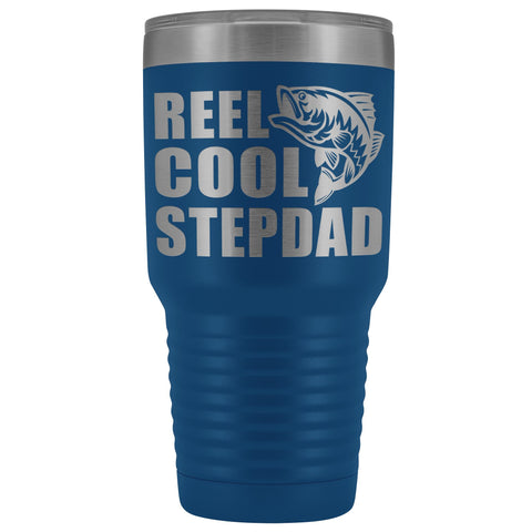Image of Reel Cool Stepdad 30oz. Tumblers Step Dad Travel Mug blue