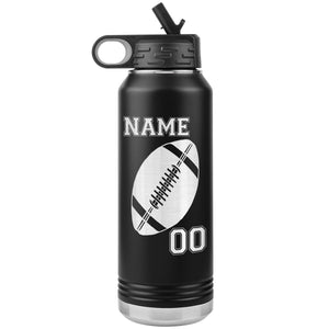 32oz. Water Bottle Tumblers Personalized Football Water Bottles black