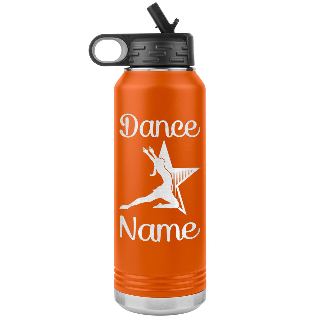 Dance Tumbler Water Bottle, Personalized Dance Gifts orange