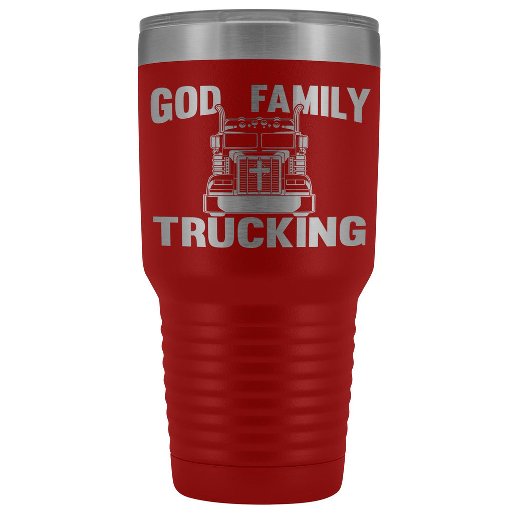 God Family Trucking Trucker Travel Cup | Trucker Tumblers red
