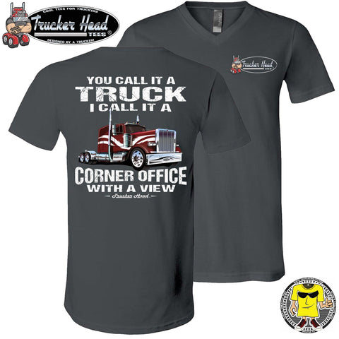 Image of You Call It A Truck I Call It A Corner Office With A Few Trucker Tshirt asphalt v-neck