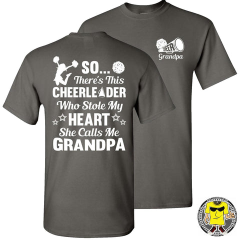 So There's This Cheerleader Who Stole My Heart She Calls Me Grandpa Cheer Grandpa Shirts charcoal