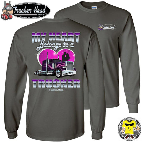 My Heart Belongs To A Trucker Wife Long Sleeve Shirt charcoal