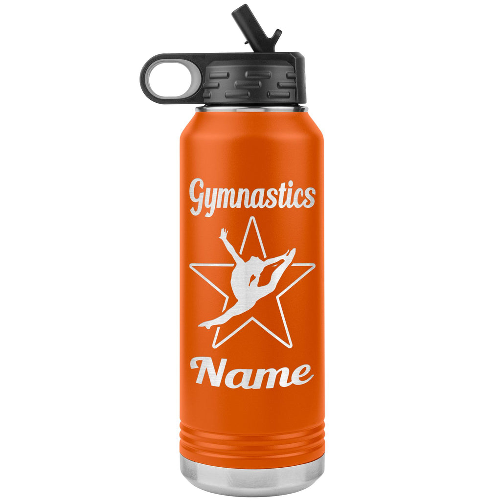 32oz Gymnastics Water Bottle Tumbler orange