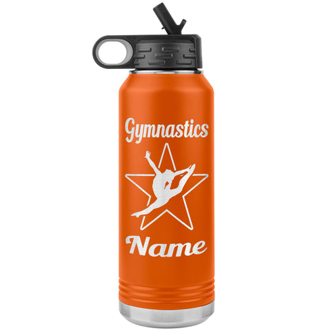 Image of 32oz Gymnastics Water Bottle Tumbler orange