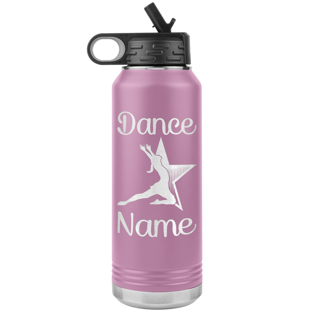 Dance Tumbler Water Bottle, Personalized Dance Gifts light purple