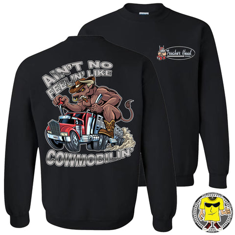 Image of Cowmobilin Bull Hauler Trucker Hoodie Sweatshirt black sweatshirt