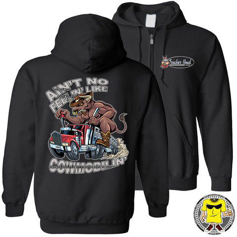 Cowmobilin Bull Hauler Trucker Hoodie Sweatshirt blck zip up