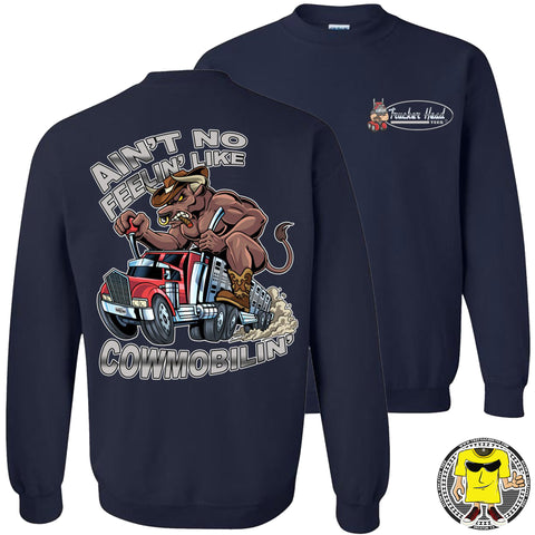 Image of Cowmobilin Bull Hauler Trucker Hoodie Sweatshirt navy sweatshirt