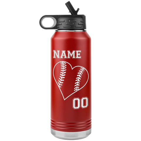 32oz Tumbler Softball Water Bottle Or Baseball Water Bottle red