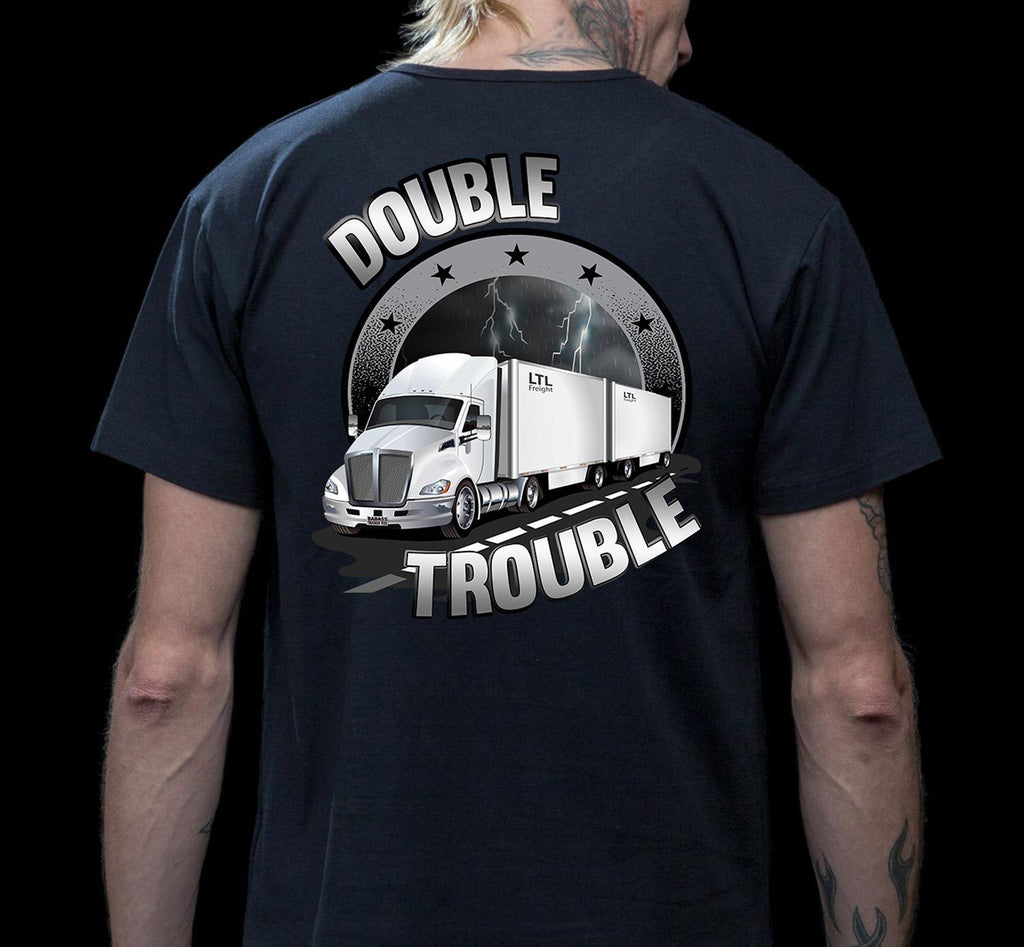 Double Trouble LTL Truck Driver T-Shirt mock up
