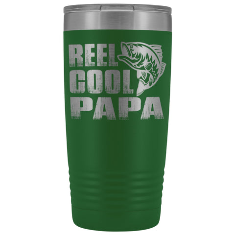 Image of Reel Cool Papa Fishing Papa 20oz Tumbler design 2 green