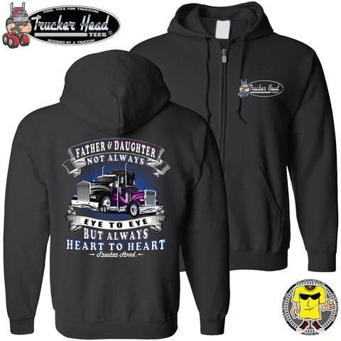 Father & Daughter Heart To Heart Truck Driver Hoodies zip up