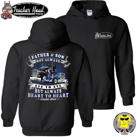 Image of Father & Son Not Always Eye To Eye But Always Heart To Heart Truck Driver Hoodies pullover