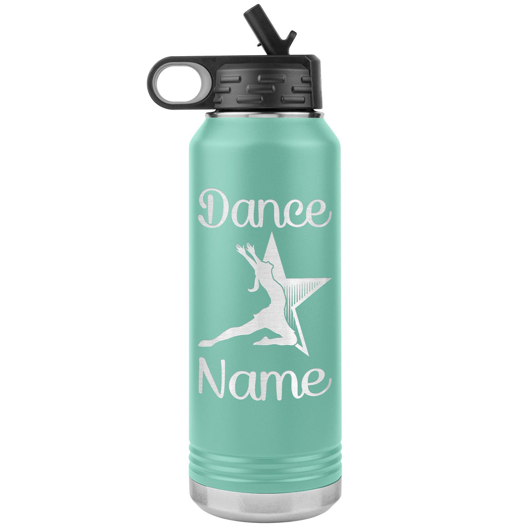 Dance Tumbler Water Bottle, Personalized Dance Gifts teal