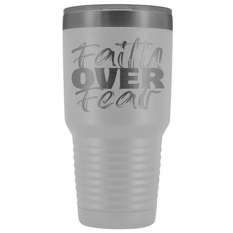 Image of Faith Over Fear Christian Tumblers white
