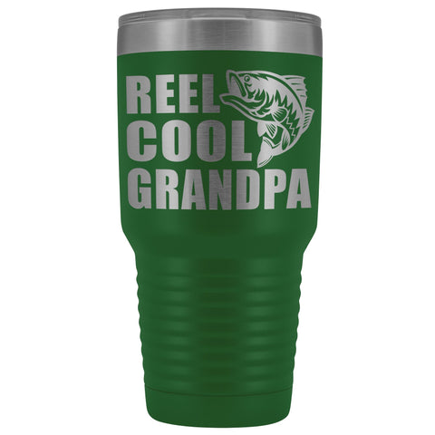 Image of Reel Cool Grandpa 30oz. Tumblers Grandpa Fishing Travel Mug green