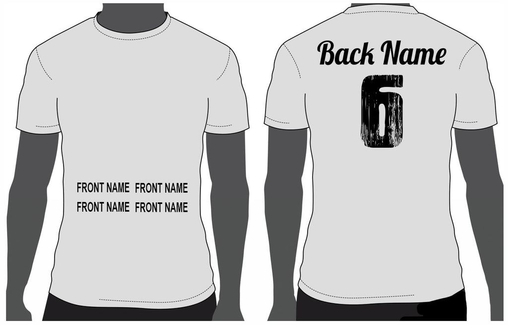 Add custom name to front or back sample placement mock up