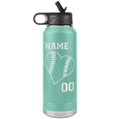 32oz Tumbler Softball Water Bottle Or Baseball Water Bottle teal