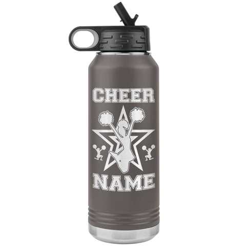32oz Cheerleading Water Bottle Tumbler, Cheer Gifts pewter