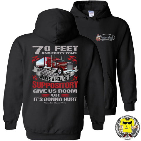 Give Us Room Or It's Gonna Hurt! Funny Trucker Hoodie pullover