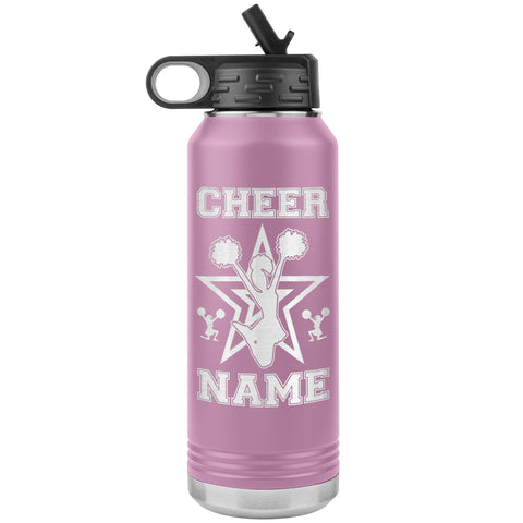32oz Cheerleading Water Bottle Tumbler, Cheer Gifts light purple