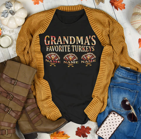 Grandma's Favorite Turkeys Funny Fall Shirts Funny Grandma Shirts