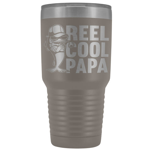Image of Reel Cool Papa Fishing Papa Tumbler pewter