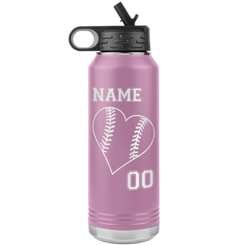 32oz Tumbler Softball Water Bottle Or Baseball Water Bottle light purple