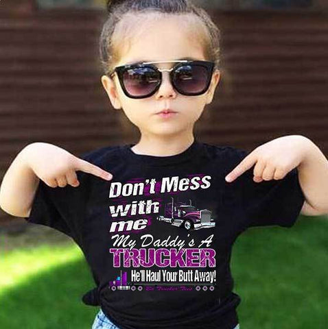 Image of Don't Mess With Me My Daddy's A Trucker Kid's Trucker Tee mock up