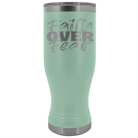 Faith Over Fear 20oz. BOHO Tumbler Christian Travel Coffee Mugs teal