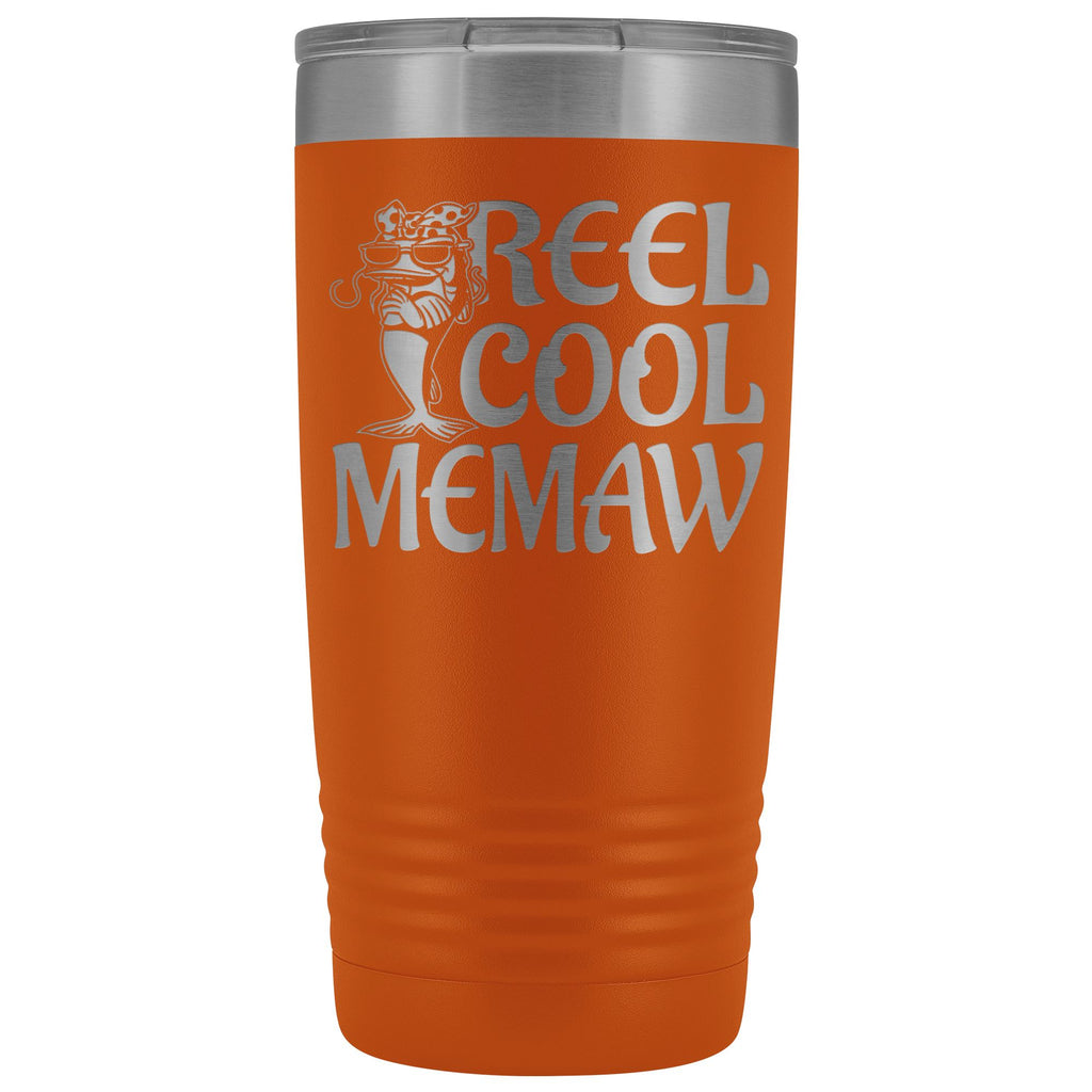 Reel Cool Memaw Fishing 20oz Tumbler orange