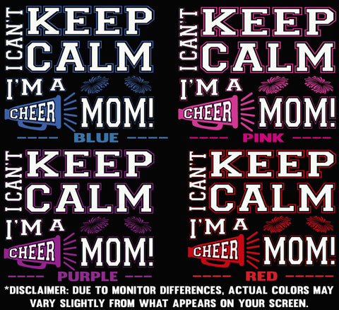 Image of I Can't Keep Calm I'm A Cheer Mom Design Color Samples 1