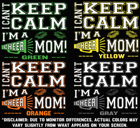 Image of I Can't Keep Calm I'm A Cheer Mom Design Color Samples 2