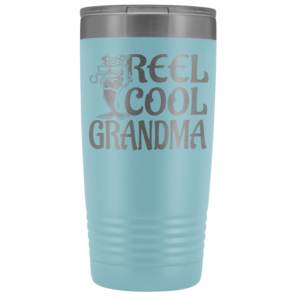 Reel Cool Grandma Fishing 20oz Tumbler light blue
