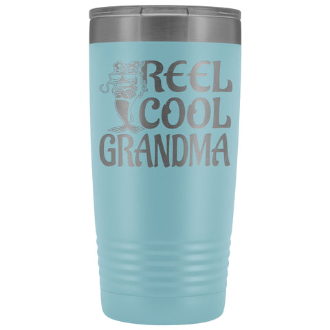 Image of Reel Cool Grandma Fishing 20oz Tumbler light blue