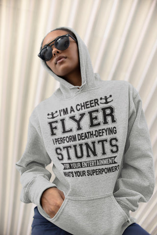 I'm A Cheer Flyer What's Your Superpower? Cheer Flyer Hoodies mock up gray