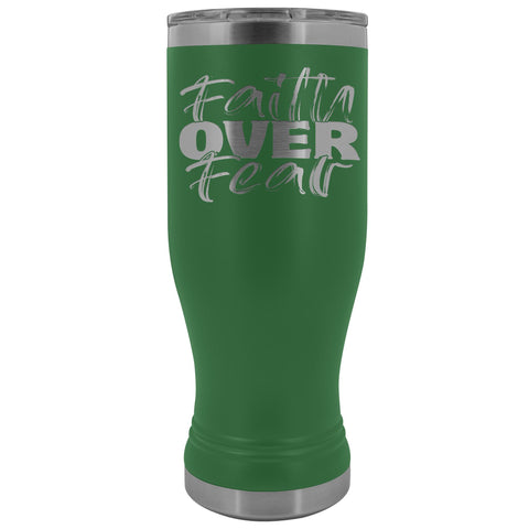 Image of Faith Over Fear 20oz. BOHO Tumbler Christian Travel Coffee Mugs green