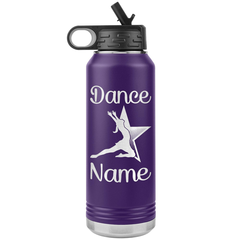 Dance Tumbler Water Bottle, Personalized Dance Gifts purple