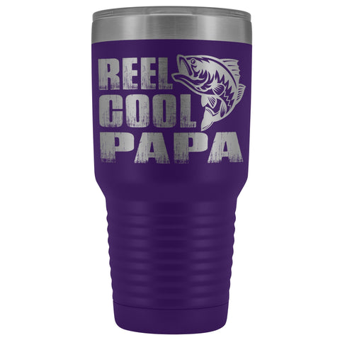 Reel Cool Papa Fishing Papa Tumbler purple