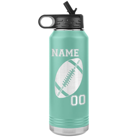 32oz. Water Bottle Tumblers Personalized Football Water Bottles teal