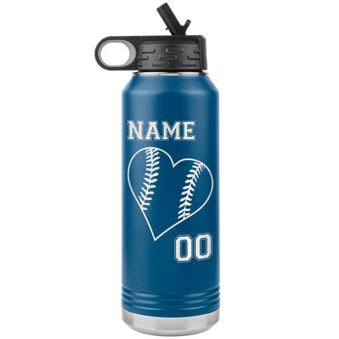32oz Tumbler Softball Water Bottle Or Baseball Water Bottle blue