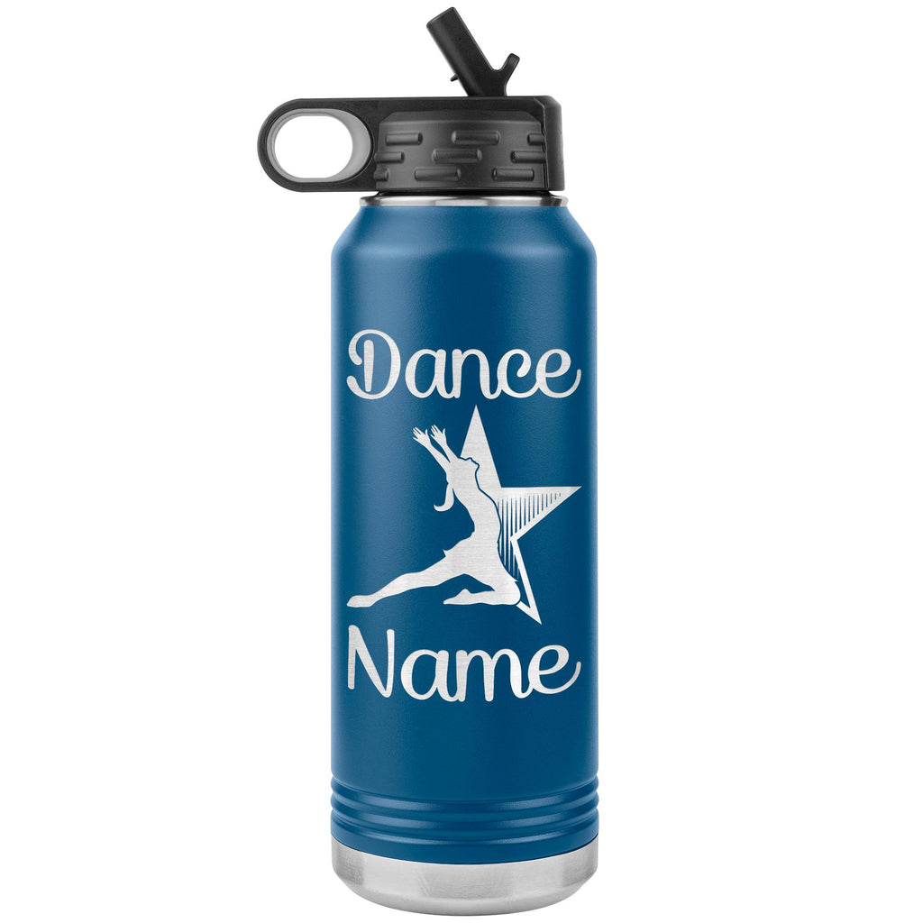 Dance Tumbler Water Bottle, Personalized Dance Gifts blue