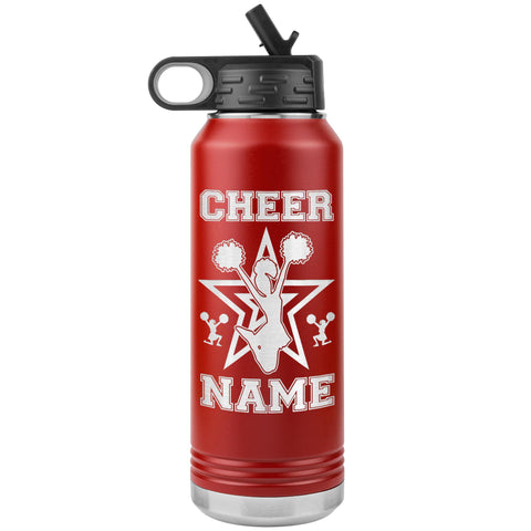 Image of 32oz Cheerleading Water Bottle Tumbler, Cheer Gifts red
