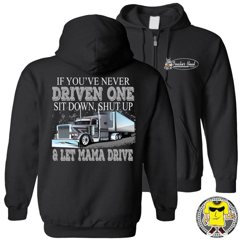Image of Let Mama Drive Funny Lady Truck Driver Hoodies zip up