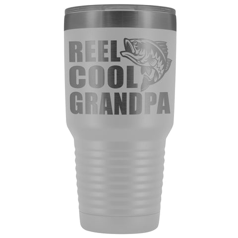 Image of Reel Cool Grandpa 30oz. Tumblers Grandpa Fishing Travel Mug white