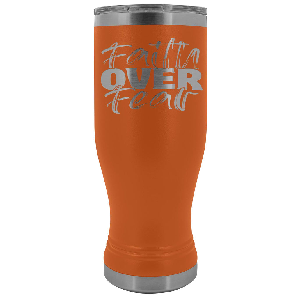 Faith Over Fear 20oz. BOHO Tumbler Christian Travel Coffee Mugs orange